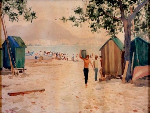 Diogenes Duarte Paes - Praia das Asturias - Guarujá - Aquarela - 39 x 54 cm - cerca déc. 40