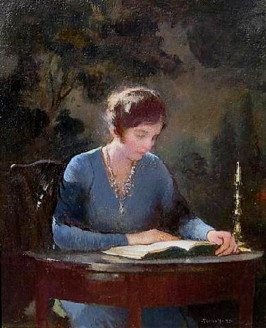 Edmund Charles Tarbell, (EUA 1862-1938), Mary lendo, 1933, ost, 31x27