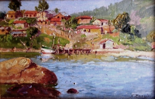 Felisberto Ranzini, Niterói - praia de Jurujuba,  o.s.c. med. 11 x 17 cm, ass. inf. esq. década de 30