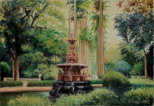 FERNANDO CORRÊA E CASTRO (1933) - Jardim Botânico-RJ, ost, 55 X 38. Assinado no c.i.d.