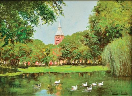 FERNANDO CORRÊA E CASTRO (1933). Patinhos no Lago do Campo de Santana, ao Fundo Torre do Corpo de Bombeiros, óleo s tela, 30 X 40