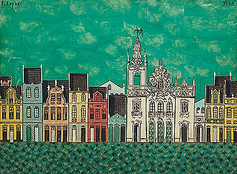 FERNANDO LOPES,Sobrados,têmpera madeira, 1963 , S. Miguel dos Campos-Alagoas 30 x 40,5 cm