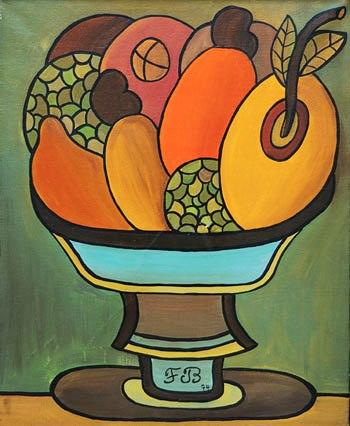 Francisco Brennand (1927) Natureza morta (fruteira azul) 1974, ost, 73x60