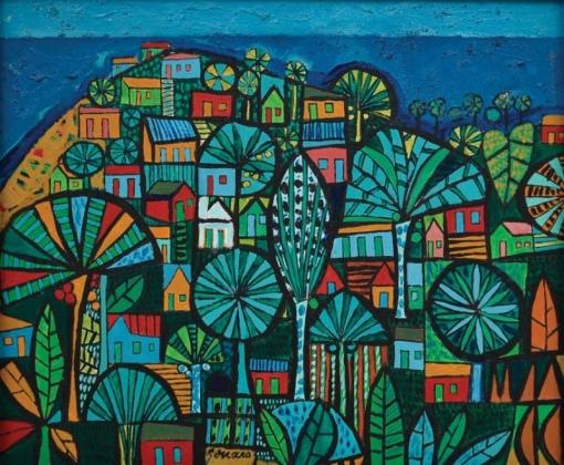 GENARO DE CARVALHO (1926-1971) -Casario e Vegetação Tropical em Salvador - BA, óleo s tela, 37 X 45