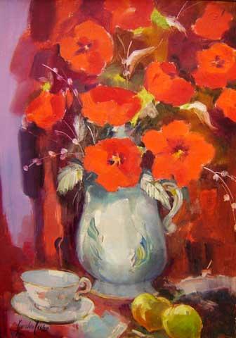 Geraldo Castro (1914-1992)Vaso de flores,Óleo sobre tela65 x 46 cm