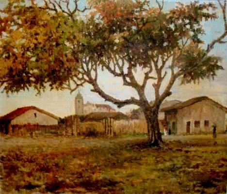 Jayme Hora, Paisagem de Itaparica com igreja ao fundo, 1946, ost, 46x55cm