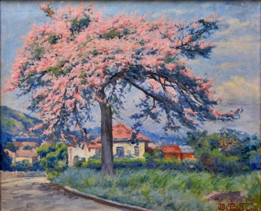 JOÃO BATISTA DE PAULA FONSECA (1889 - 1960). Paineira em Flor, óleo stela, 54 x 66. Assinado e datado (1945