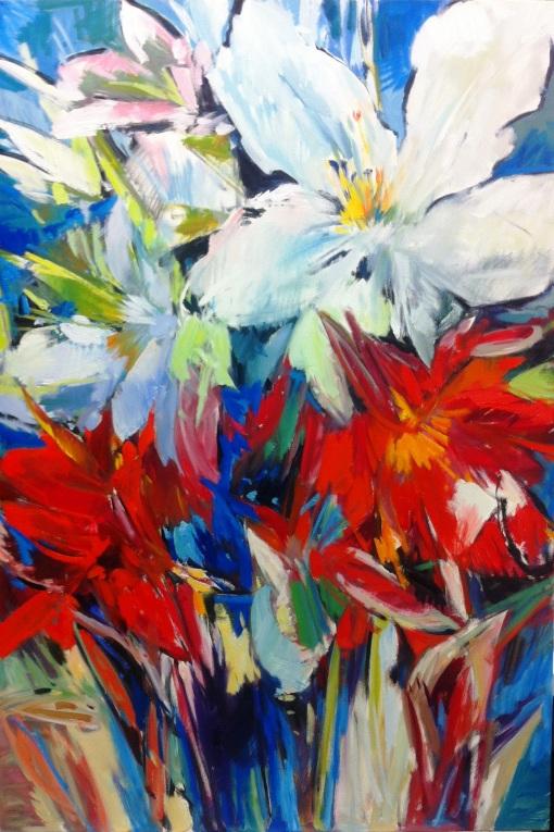 Juliana Marcante, flores-coloridas-2013, acrilica st, 100x 150