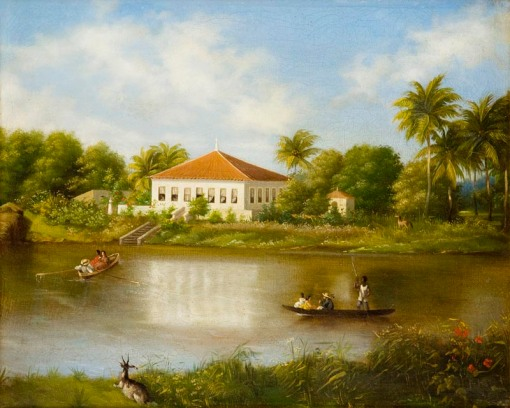 Louis Schlaprriz, Paisagem de Recife, Rio Capibaribe, 1863, 31 x 39cm,ost