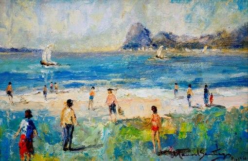 MANOEL SANTIAGO - (Brasil,1897 - 1987)Praia de Botafogo - óleo sobre madeira - 24 x 35 cm - 1966 - Rio de Janeiro