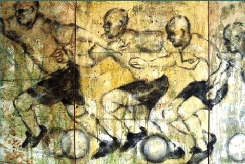 marcantonio, (Marco Antonio Soares da Costa) RJ 1964), futebolsemTítulo, técnica mista stela - 70 x150 cm - 2000