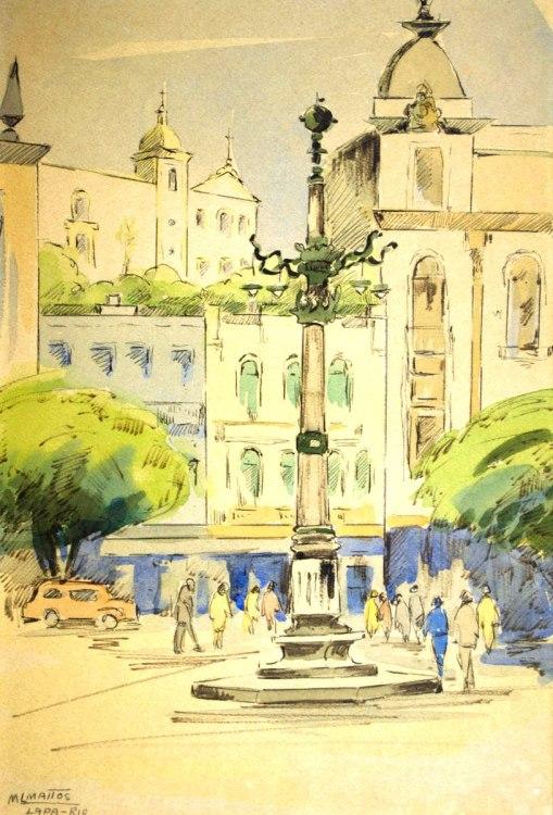 MARIE LOUISE MATTOS - (França-Brasil,1916)Lapa - desenho a nanquim e aquarela - 32 x 21 cm - - Rio de Janeiro