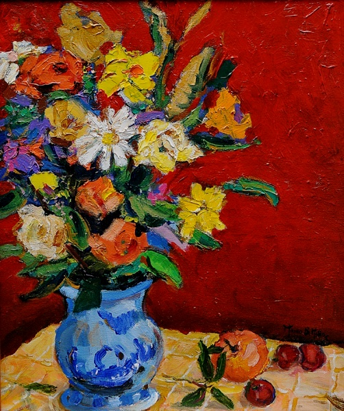 MAURO BANDEIRA DE MELLO - (Brasil, 1960) Vaso de flores 2000- acrílica s tela 55 x 46 cm. Ass. inf. direito e verso.
