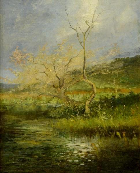 PARREIRAS, Antônio (1860 - 1937) Paisagem com lago, o.s.t. - 42 x 34 cm. Assinado e datado 1892