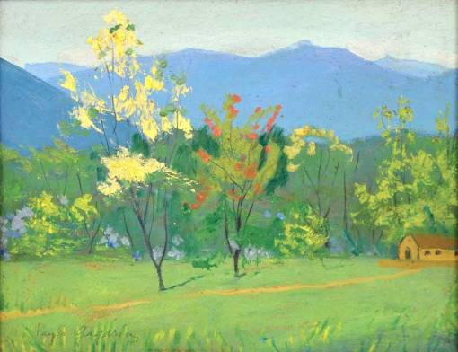 PAULO GAGARIM (1885 - 1980) - Paisagem de Umuarama - Paraná, óleo seucatex, 27 X 33.