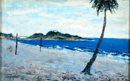 QUIRINO CAMPOFIORITO (1902 - 1993)Praia do Leblon,1977,ose, 24 x 37