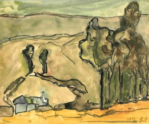 Roberto Gil, Paisagem, 1963, aquarela, 32 x 38