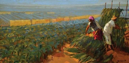 ROMANELLI, ARMANDO (1945) - A colheita de fumo, óleo s tela, 35 x 70. Assinado no c.i.d. e datado (1984)