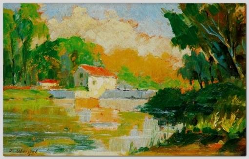Rudolf Weigel, (1907-1987) Paisagem, ost, 21x32
