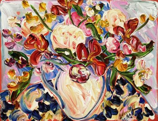 sou-kit-gom, vaso com flores, 2010, ast, 70x90