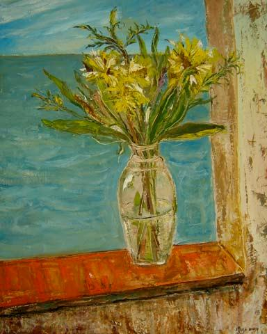 Stella Bianco (1944)Vaso de flores na janelaÓleo sobre placa100 x 80 cm