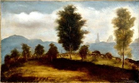 TERUZ, ORLANDO (1902-1984) - Paisagem em Teresópolis ao Fundo Dedo de Deus - RJ, óleo s tela, 33 X 55. Assinado c.i.d. e datado (1947)