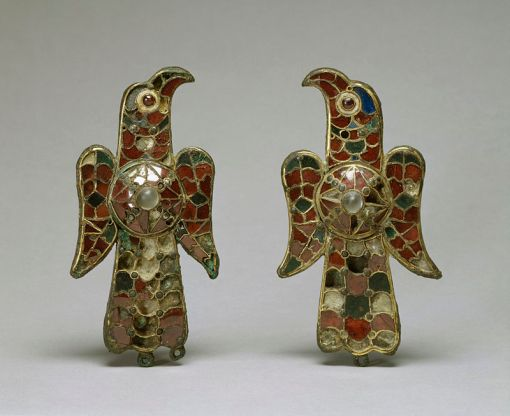 Visigothic_-_Pair_of_Eagle_Fibula_-_Walters_54421,_54422_-_GroupVisigothic - Pair of Eagle Fibula - Walters 54421, 54422 - Group