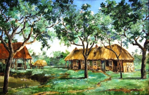 Wambach, Georges (1901-1965) paisagem com casa, o.s.t. 81 x 120. Assinado cid.