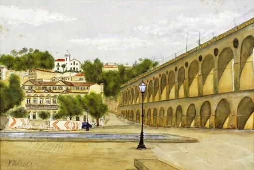 Y. Takaoka,Arcos da Lapa  Aquarela, década de 1930, 32x47cm