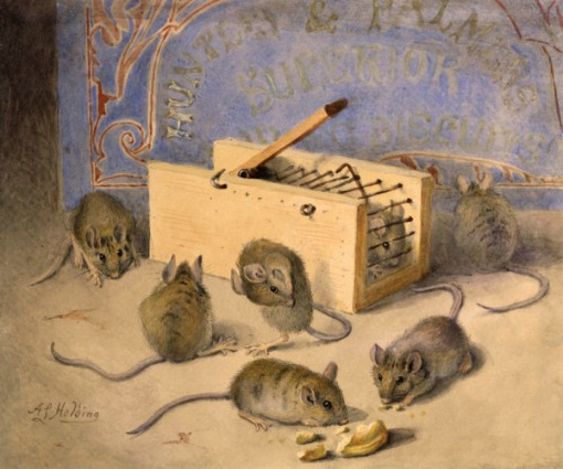 A. L. HOLDING, Mice and Huntley & Palmer's Superior Biscuits,Watercolour,19.00 x 23.00cm