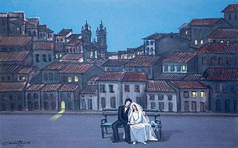 CARLOS BASTOS,Noivos,1977,óleo s tela, 50 x 80 cm