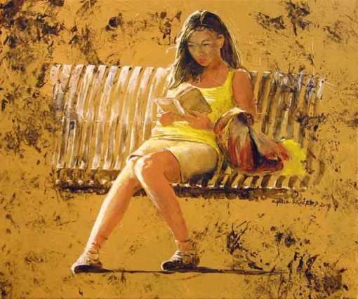 Christophe Saccard(França, contemp) Os bancos I, acrílica sobre tela, 61 x 50 cm, wwwartistescotes.com p