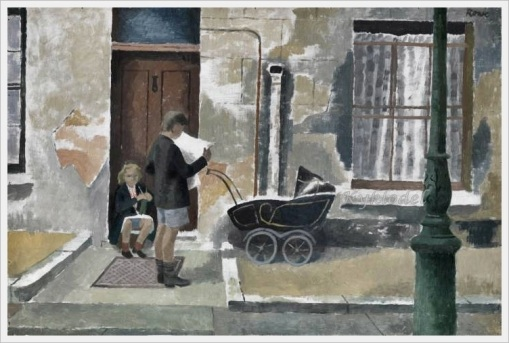 Cliff Rowe (1904-1989) «Street Scene Kentish Town » 1931