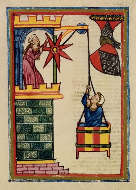 CodexManesse-1305-40-ManinBasket -- a medieval illumination from the Codex Manness, c. 1304- c 1340