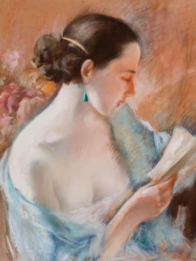 Emile Hornung (Suiça, 1883-1956)Jovem mulher de cabelos negros lendo, c. 1920, pastel sobre papel,60 x 45 cm
