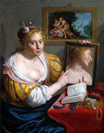 Paulus Moreelse--1627--jeune-fille-au-miroir-1
