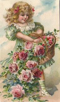 rosas menina cartão postal