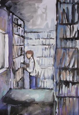 Setefan Eckert Bibliothèque 2, gouache sur papier,