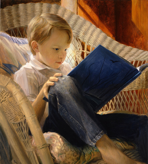 Steven Christopher Seward [American artist, 1958- ]Lendo a história da coruja ao luar, 1996, oil on canvas