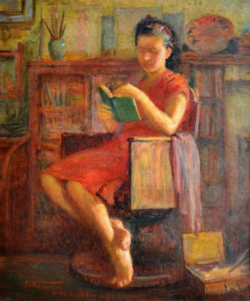ARTHUR TIMÓTHEO DA COSTA - (1882 - 1923) Ziza no atellier - ost - 65 x 54 - cie - 1919
