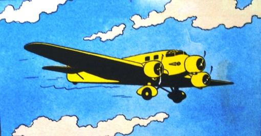 avião amarelo em vôo, hergé