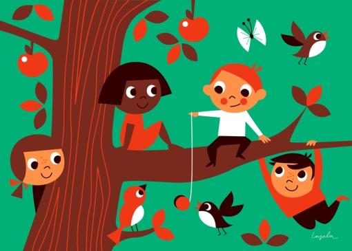 crianças na árvore, Ingela P Arrhenius