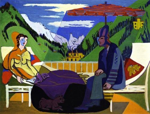 Ernst Ludwig Kirchner, Balcony Scene, 1935. Oil on canvas. 136 x 178 cm Kirchner Museum Davos