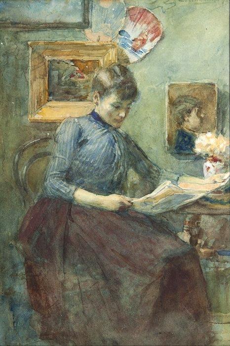 Ernst Witkamp( Holanda, 1854 – 1897) mulher lendo em interior, aquarela,  33 x 22 cm