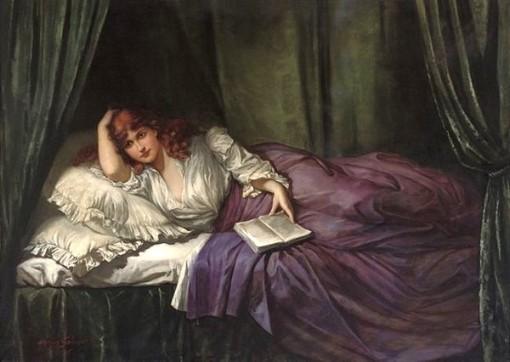 Herman Salomon, circa 1905, Bedtime reading, ost, 148 x 208 cm