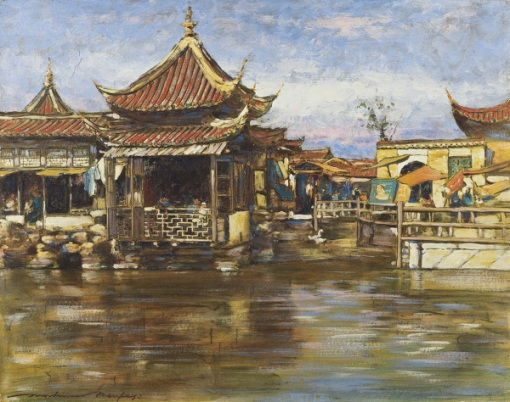 Mortimer L. Menpes (Austtrália, 1855-1938)A Tea House, Shanghai, circa 1909,Gouache,oil on board,32 x 40 cm