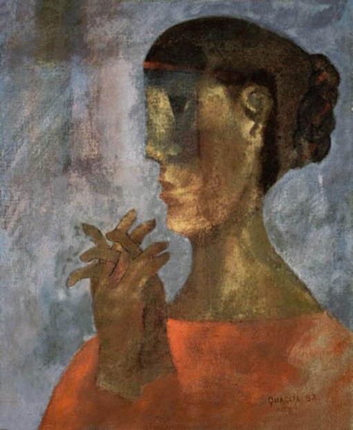 QUAGLIA, João,Mulher com Dedos Entrelaçados,óleo s tela, ass. e dat. 1982 inf. dir.46 x 38 cm