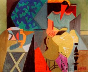 Andre Lhote (França 1885-1962) femme Lisant, 1945