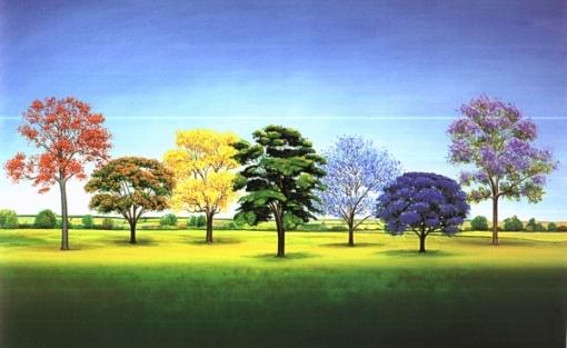 antonio peticov, seven trees, 100 x 161cm ost