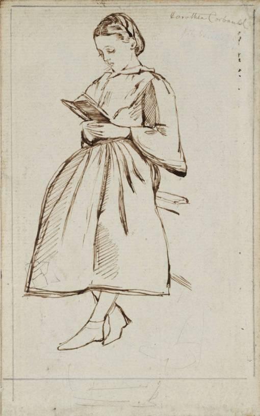 Dorothea Corbould, Reading ?circa 1860 by Charles Samuel Keene 1823-1891
